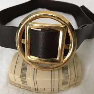 Vintage • 1970s Geometric Buckle Brown Waist Belt